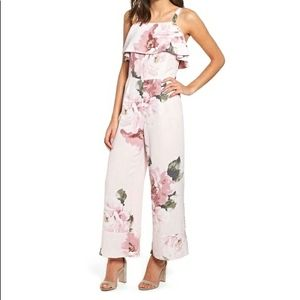 Pink Floral Jumpsuit with Ruffle